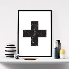 Swiss Cross / Marble Graphic Art / #printableart #abstract #art