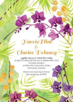 Island Wedding - Wedding Invitations #paperlust #weddinginvitation #weddingstationery #weddinginspiration #design #tropical #purple #green
