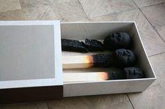 matchstick men by wolfgang stiller #morbid #matchstick #burnt #installation #men #dead