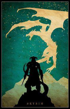 SKYRIM Minimalist Video Game Poster by posterexplosion on Etsy #skyrim