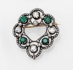 Smaragd-Diamant-Brosche