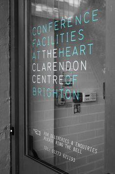 Clarendon centre brand by fentonforeman.com #white #door #black #and #signage #logo #aqua #conference