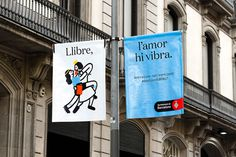 Flags designed by Requena featuring illustration by Olga Capdevila for Sant Jordi Festival 2017