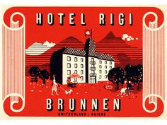 Swiss Modern luggage label - Hotel Rigi Brunnen Switzerland