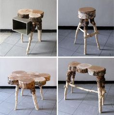 recycled raw lumber furniture