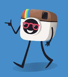 Instagram man - Tom Wolley #instagram #wolley #camera #sunglasses #tom #illustration #walking #man #cool