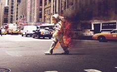 Astronaut on Fire by Jack Crossing #astronaut #fire