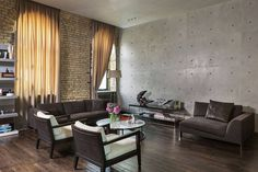 Industrial but sophisticated interior style
