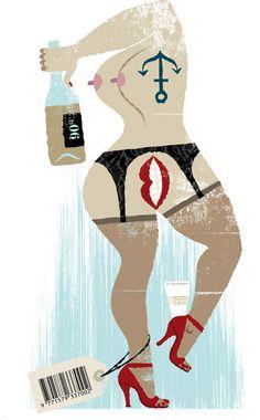 image #illustration #booze #woman #nude