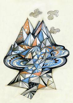 Geometric Mountain Poster by Sormeja on Etsy #illustration #mountain