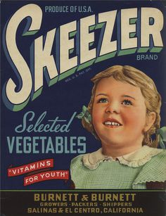All sizes | Skeezer Selected Vegetables | Flickr Photo Sharing! #vintage #type #packaging #label #food