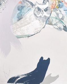 The Owl and Cat Frank | Sonnenzimmer - Sonnenzimmer #sonnenzimmer #screen #print #illustration