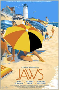 Jaws on Behance #illustration #typography #poster #film #beach #shark #umbrella #jaws #parasol
