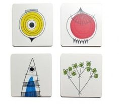Coasters feature classic 1950s Swedish pattern: News from New House Textiles #sweedish #1950 #coasters