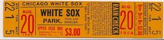 WHITE SOX BASEBALL TICKET