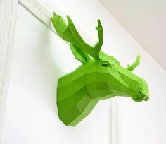 DIY Geometric Paper Animal Sculptures by Paperwolf paper DIY animals #wall #moose #animals #art #diy #paper #green