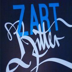 Branding for ZARTBITTER - Die Schokoladen Revue. Client: Die Schönen der Nacht, (DE) Freiburg #boris #blackmilk-box #branding #handwriting #hoepf #zartbitter #handmade #poster #blue #typo