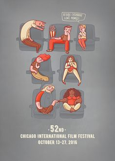 Chicago Film Festival - poster proposal by Magic Suitcase #poster #chicago #film #festival #movie #cinema #lettering #type #illustration