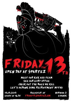 Friday the 13th Poster #poster #red #black #creepy #friday 13th #warrior #spartan #jason