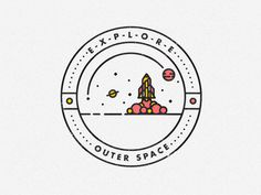 OUTER SPACE Badge #line #vector #icon #illustrator #space #spaceship #illustration #rocket #logo #drawing #detail #moon