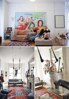 flying trapeze in the living room of oeuf founder sophie demenge\'s brooklyn home