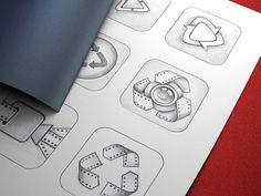 Vizzywig App Icon Design, Part 2 #icon #camera #appstore #vizzywig #icons #iphone #video #app #sketches #ios #editor #pencil