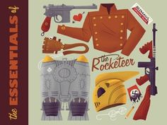 Dribbble - The Essentials of the Rocketeer by Matt Kaufenberg #illustration #color #handmade #texture
