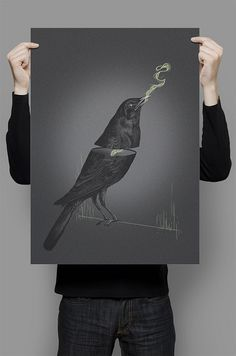 crowwww! #model #crow #retro #bird #illustration #santiago #vintage #poster #art #willian #collage #hand