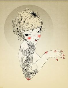 Tattoo girl on Behance #gold #tattoo #lady