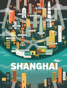 5 cosmopolitan city illustrations from around the world by Aldo Crusher #design #illustration #city #china #shanghai #cosmopolitan