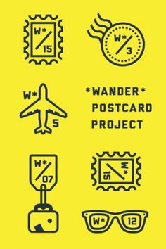 Wander Blog #wander #postcard #yellow #icons