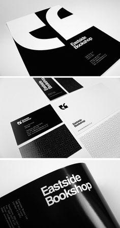 East Side Bookshop Identity System #identity #white #black #and