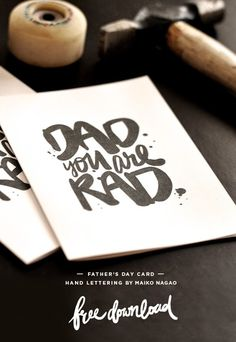 Maiko Nagao: DAD you are RAD Father's day card #typography #hand lettering #father day