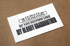 Noltedesign | Driving Cards, Christmas Present to Girlfriends Past #typogrpahy #letterpress