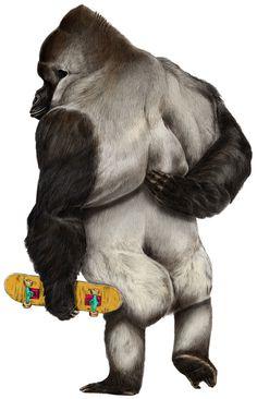 GIUSE'S ANTHROPOMORPHIC ANIMALS #urban #monkey #ape #primate #illustration #gorilla #skateboard #animal #anthropomorphic