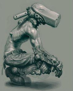 SciFi Fantasy Horror #white #futuristic #fi #sci #black #mechanical #illustration #and #cyborg