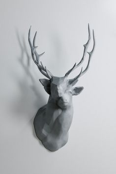 art / Buamai - Polygon Double Deer #deer #white #head #wall #art