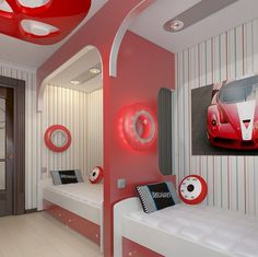Modern design of a teen bedroom in white and red
