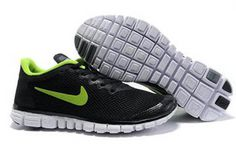 Nike Free 3.0 V2 Running Shoe Black Volt Mens #shoes