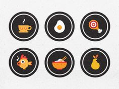 Blindfoodicons #achievement #egg #icon #fish #fruit #food #chinese #meat #badges #coffee