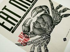 The Red Canoe : mCroxton Design #screenprint #poster #crab