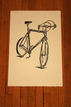 n.wise #woodcut #velo #bike #poster