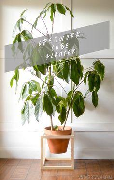 DIY Openwork Cube Planter Tutorial vintagerevivals.com #planter