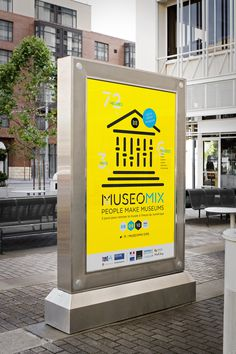 yellow, exterior sign, sign, museomix, icon