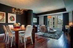 apartment, interior design, living room, dining room
