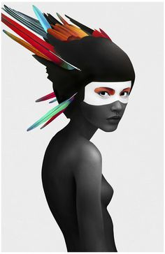 The People's Print Shop - Ruben Ireland's stunning, brand new print #headdress #woman #eyes #feathers #illustration #portrait #hat #surreal #colour #beauty