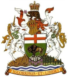 The CANADIAN DESIGN RESOURCE » manitoba coat of arms #canada #manitoba #beaver #unicorn #bison #of #arms #coat