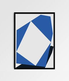 Art, print, minimal, white, blue, shape