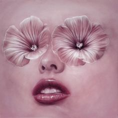 """""""PinkP"""" by Beniamino Leone #woman #petals #lips #illustration #face #painting #surreal #flowers #beauty"""