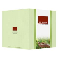 Otis McAllister Imprinted Folder (Front & Back Cover View) #design #light #folder #green